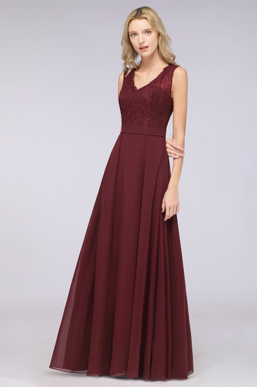 BMbridal Modest Chiffon V-Neck Burgundy Lace Bridesmaid Dresses Online_54