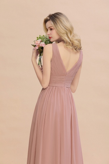 Elegant V-Neck Dusty Rose Chiffon Bridesmaid Dress with Ruffle_58