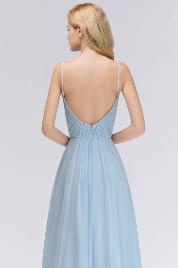 Chic V-Neck Pleated Backless Bridesmaid Dresses with Spaghetti Straps_8