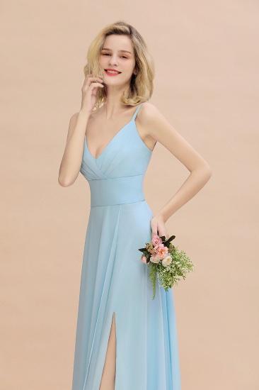 Affordable Spaghetti-Straps Slit Long Chiffon Bridesmaid Dress with Ruffle_8