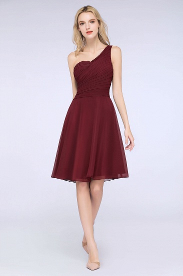 Chic One-Shoulder Short Burgundy Affordable Bridesmaid Dress with Ruffle_55
