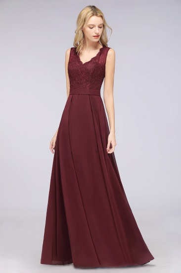 BMbridal Modest Chiffon V-Neck Burgundy Lace Bridesmaid Dresses Online_55