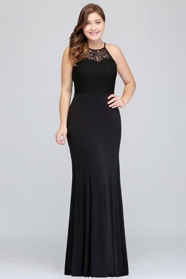 Plus Size Mermaid Square Lace Black Bridesmaid Dress Online_1
