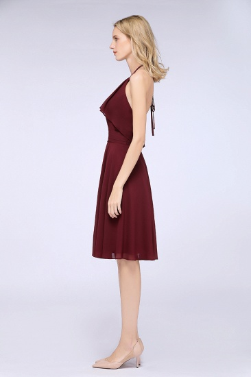 Gorgeous Halter Sleeveless Chiffon Short Bridesmaid Dress with Ruffle_6