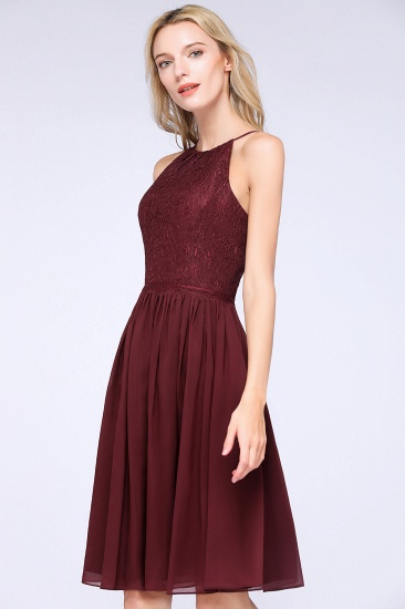 Lovely Burgundy Lace Short Bridesmaid Dress With Spaghetti-Straps_56