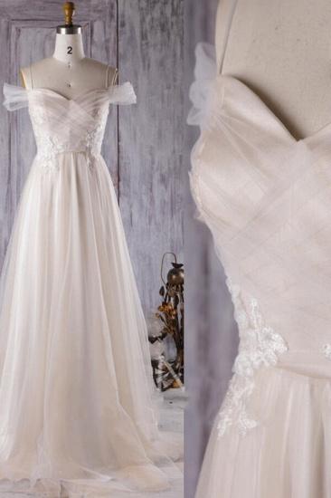 BMbridal Elegant Cold-shoulder Wedding Dress Sweetheart Appliques Ruffles Bridal Gowns Online_5