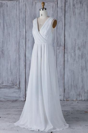 Elegant A-Line Chiffon Wedding Dress Appliques Ruffles Draped Back Bridal Gowns Online_2