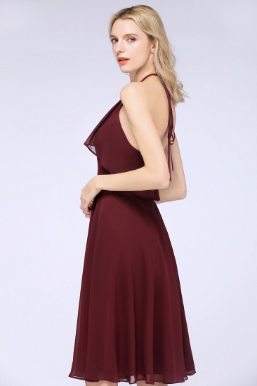 Gorgeous Halter Sleeveless Chiffon Short Bridesmaid Dress with Ruffle_8