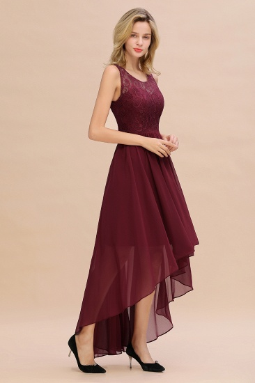 Affordable Hi-Lo Lace Sleeveless Burgundy Chiffon Bridesmaid Dress Online_6