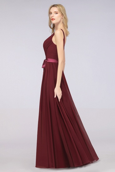 Chic V-Neck Straps Ruffle Burgundy Bridesmaid Dresses with Bow Sash_55