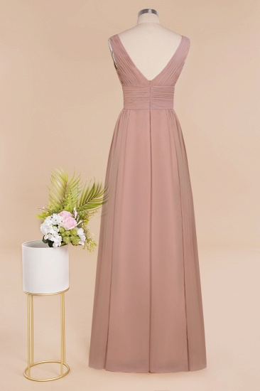 Elegant V-Neck Dusty Rose Chiffon Bridesmaid Dress with Ruffle_60