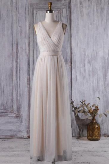 BMbridal Chic Tulle Lace Wedding Dress Ruffle V-neck Sleeveless Bridal Gowns On Sale_1