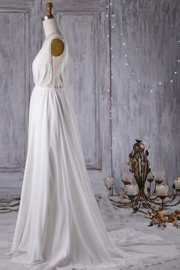 BMbridal Sexy A-line V-Neck Chiffon Wedding Dress Sleeveless Lace Appliques Bridal Gowns On Sale_4