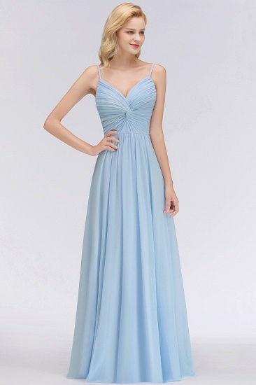 Chic V-Neck Pleated Backless Bridesmaid Dresses with Spaghetti Straps_4