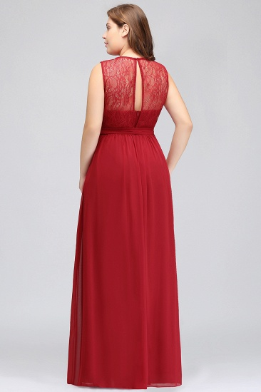 Plus Size Jewel Sleeveless Red Lace Long Bridesmaid Dress with Ruffle_3