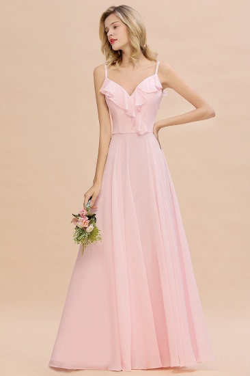 Stylish Draped V-Neck Pink Chiffon Bridesmaid Dress with Spaghetti Straps_4
