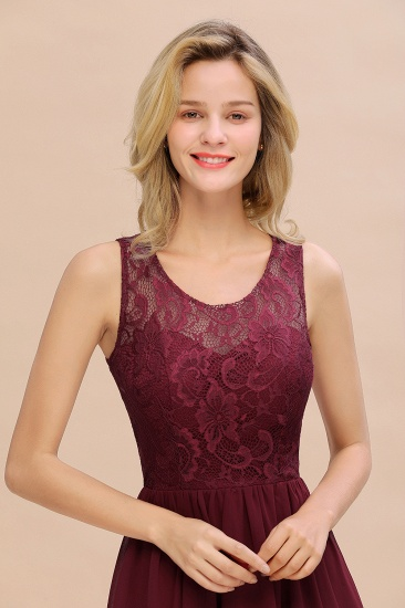 Affordable Hi-Lo Lace Sleeveless Burgundy Chiffon Bridesmaid Dress Online_8