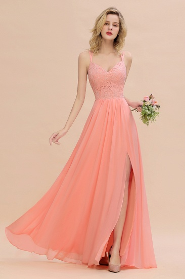 Sexy Spaghetti-Straps Coral Lace Bridesmaid Dresses with Slit_54