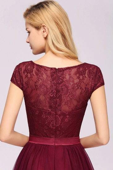 Elegant Lace Cap Sleeves Burgundy Bridesmaid Dresses Cheap_8