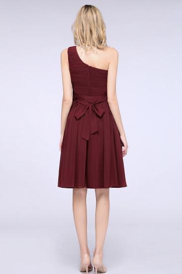 Chiffon One Shoulder Ruffle Short Burgundy Bridesmaid Dresses Online_4