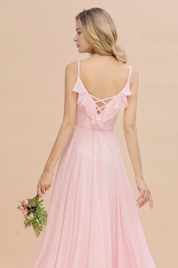 Stylish Draped V-Neck Pink Chiffon Bridesmaid Dress with Spaghetti Straps_9