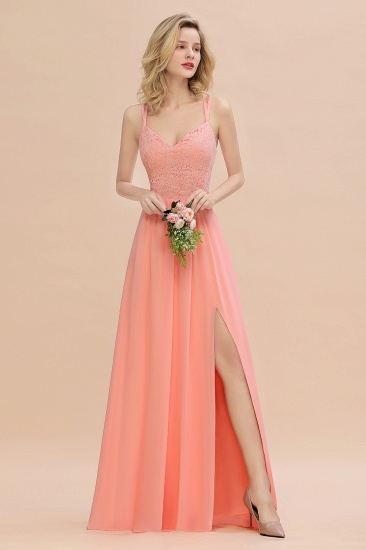 Sexy Spaghetti-Straps Coral Lace Bridesmaid Dresses with Slit_56