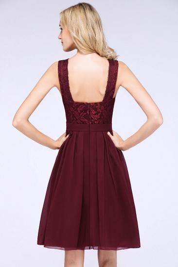 Elegant Lace V-Neck Short Burgundy Chiffon Bridesmaid Dress with Ruffle_8