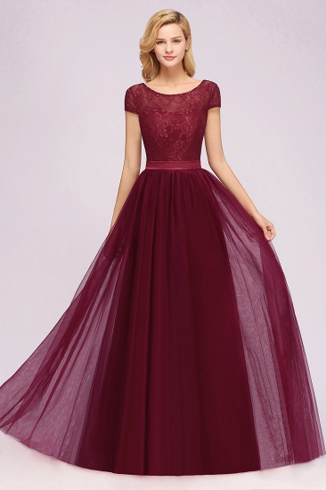 Elegant Lace Cap Sleeves Burgundy Bridesmaid Dresses Cheap_2
