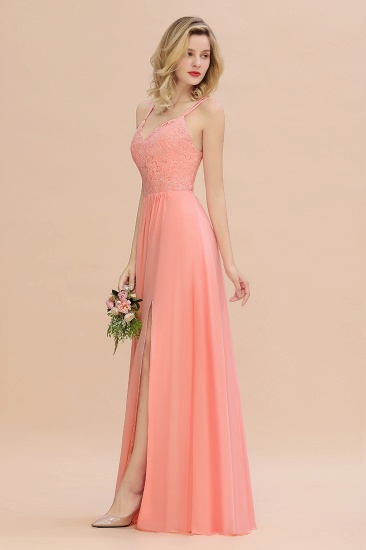 Sexy Spaghetti-Straps Coral Lace Bridesmaid Dresses with Slit_57