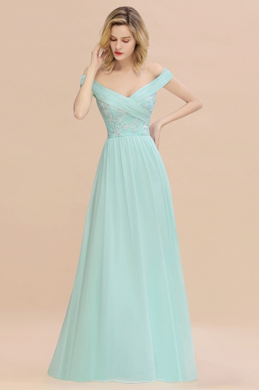 Simple Off-the-shoulder Long Affordable Bridesmaid Dress With Appliques_6