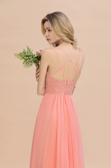 Sexy Spaghetti-Straps Coral Lace Bridesmaid Dresses with Slit_59
