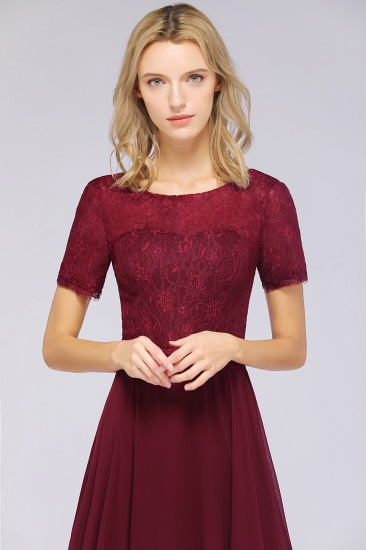 Chic Lace Long Burgundy Backless Bridesmaid Dress With Short-Sleeves_8