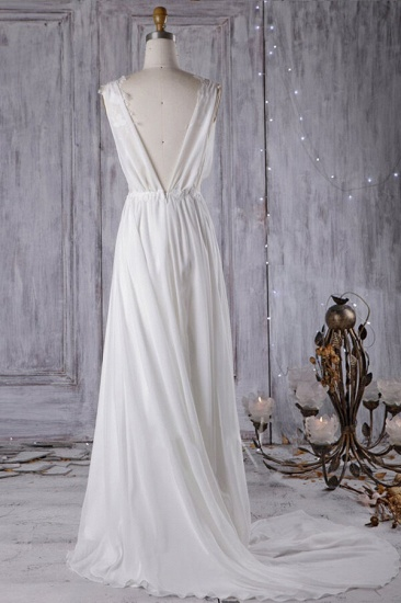 BMbridal Sexy A-line V-Neck Chiffon Wedding Dress Sleeveless Lace Appliques Bridal Gowns On Sale_3