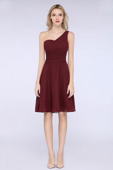 Chic One-Shoulder Short Burgundy Affordable Bridesmaid Dress with Ruffle_53