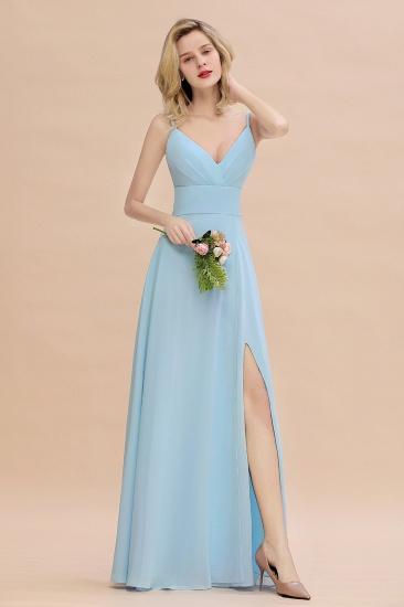 Affordable Spaghetti-Straps Slit Long Chiffon Bridesmaid Dress with Ruffle_1