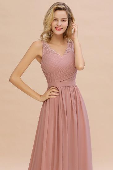 Elegant V-Neck Ruffle Dusty Rose Chiffon Lace Bridesmaid Dresses Online_8