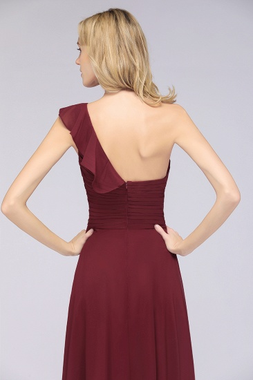 BMbridal Gorgeous Sweetheart Ruffle Burgundy Chiffon Bridesmaid Dress With One-shoulder_9