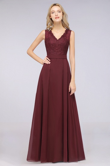 BMbridal Modest Chiffon V-Neck Burgundy Lace Bridesmaid Dresses Online_51