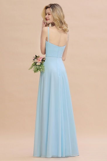 Affordable Spaghetti-Straps Slit Long Chiffon Bridesmaid Dress with Ruffle_3