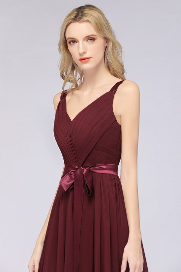Chic V-Neck Straps Ruffle Burgundy Bridesmaid Dresses with Bow Sash_57