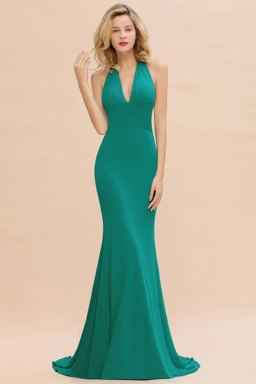 Mermaid Halter V-Neck Dark Green Chiffon Bridesmaid Dress with Open Back_33