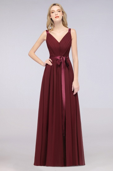 Chic V-Neck Straps Ruffle Burgundy Bridesmaid Dresses with Bow Sash_51
