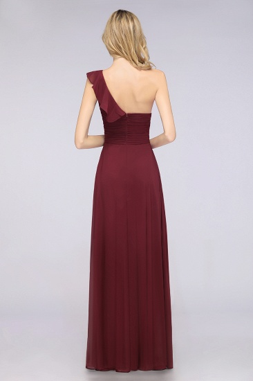 BMbridal Gorgeous Sweetheart Ruffle Burgundy Chiffon Bridesmaid Dress With One-shoulder_3