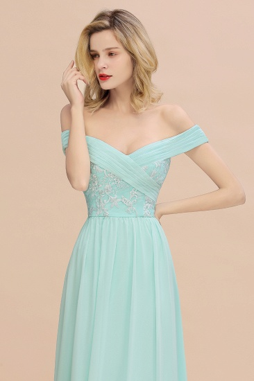 Simple Off-the-shoulder Long Affordable Bridesmaid Dress With Appliques_8