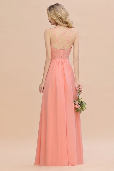 Sexy Spaghetti-Straps Coral Lace Bridesmaid Dresses with Slit_53