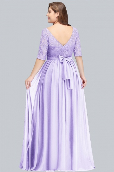 BMbridal Plus Size Elegant Half-Sleeves Lace Bridesmaid Dresses with Bow_4