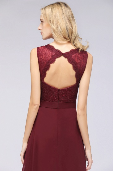 BMbridal Modest Chiffon V-Neck Burgundy Lace Bridesmaid Dresses Online_58