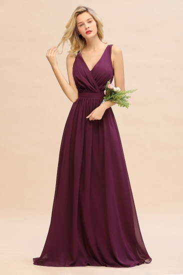 BMbridal Affordable V-Neck Ruffle Long Grape Chiffon Bridesmaid Dress with Bow_20