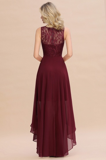 Affordable Hi-Lo Lace Sleeveless Burgundy Chiffon Bridesmaid Dress Online_2