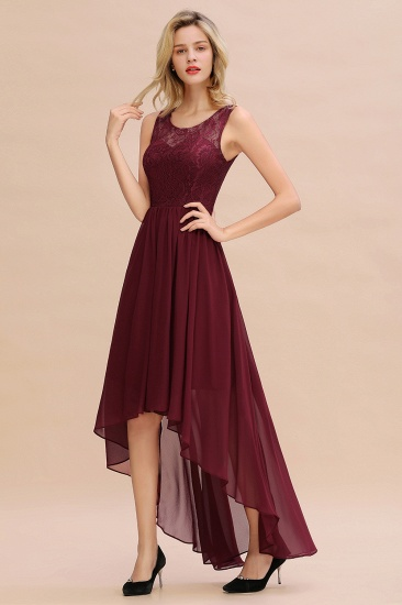 Affordable Hi-Lo Lace Sleeveless Burgundy Chiffon Bridesmaid Dress Online_5